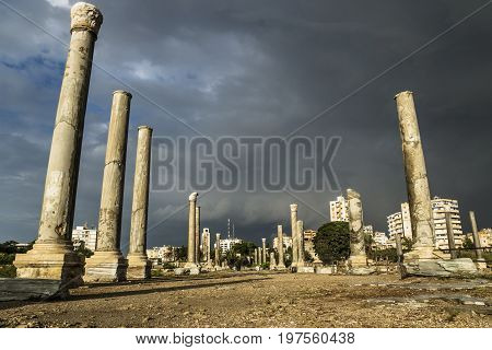Pillars lowangle in sunlight during storm in ruins with dark dramatic cloudscape in Tyre, Sour, Lebanon