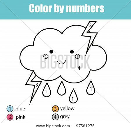 Coloring page with cute cloud character. Color by numbers educational children game, drawing kids activity, printable sheet. Learning numbers. Weather theme
