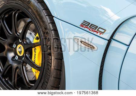 TORINO - JUN 08 2017: Showroom. Close up of a blue Lotus 380 Sport