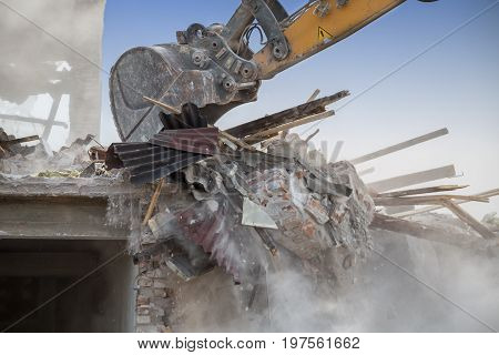Backhoe Demolishing House 2