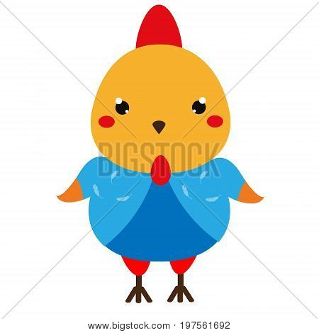 Cute chicken. Cartoon kawaii rooster character. Vector illustration for kids and babies fashion.