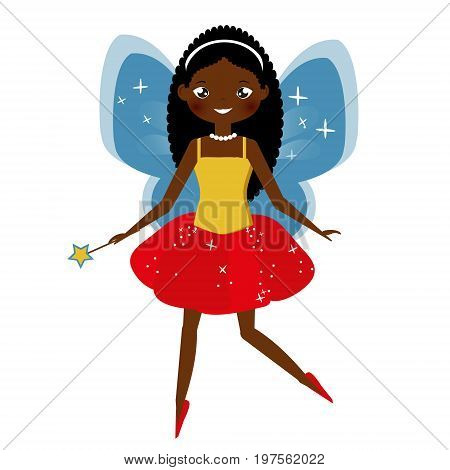 Beautiful fairy character with magic wand. Winged elf princess in pink skirt. African american fairy character. Vector illustration in cartoon style for kids and babies