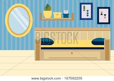 Room interior. Apartment in blue and yellow colors. Bedroom design with sofa, shelves, mirror. Vector illustration.