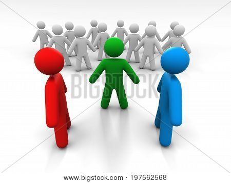 Concept Of Discussion Of Two Persons In The Presence Of A Third Person And A Crowd Of People. 3D Illustration.