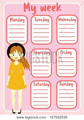 Kids timetable with beautiful teen character. Weekly planner for children girls. School schedule design template. Vector illustration
