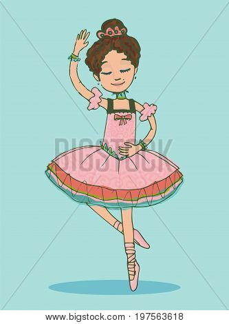 Beautiful brunette ballerina girl dancing in shiny pink dress. Isolated illustration on light-green  background