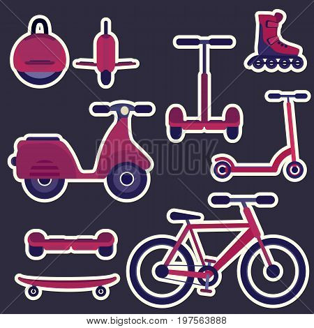 Flat purple and violet cartoon fashion city transport stickers set. Youth urban ecological transport