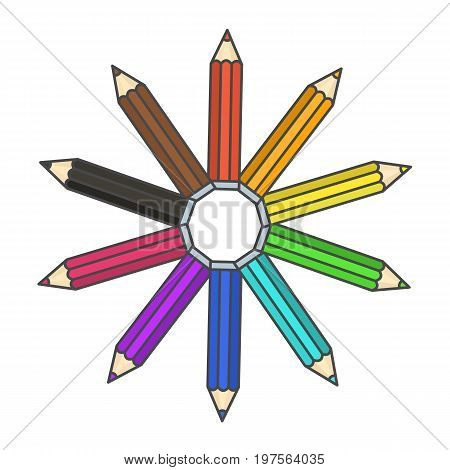 Flat bright colorful pencil symbol colour pencils organized in color wheel circle. Rainbow drawing equipment