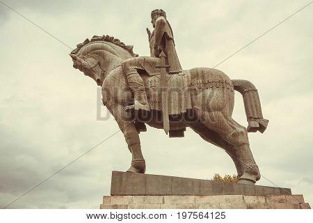 Monument of King Vakhtang Gorgasali ruler Georgia in 5th century. Landmark of Tbilisi city.