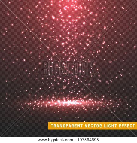 Glowing glitter light effects isolated realistic. Christmas decoration design element. Sunlight lens flare. Shining elements and stars. Red and pink texture. Transparent vector particles background.
