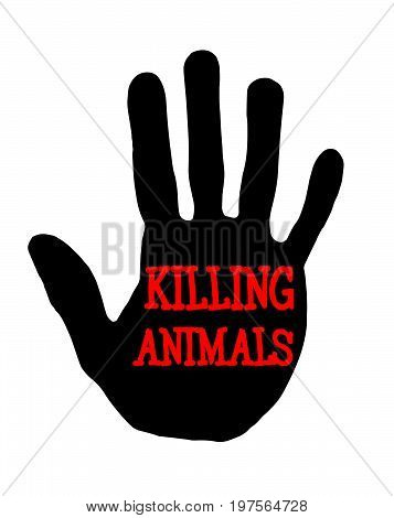 Man handprint isolated on white background showing stop killing animals