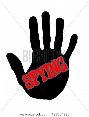 Man handprint isolated on white background showing stop alcohol spying