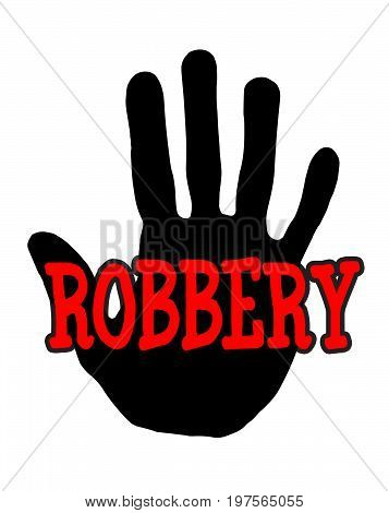 Man handprint isolated on white background showing stop robbery