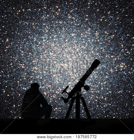 Man With Telescope Looking At The Stars. Globular Cluster Omega Centauri In Constellation Centaurus.