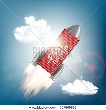 Metal container is flying on a rocket into the sky. Cargo fast delivery. Stock vector illustration.