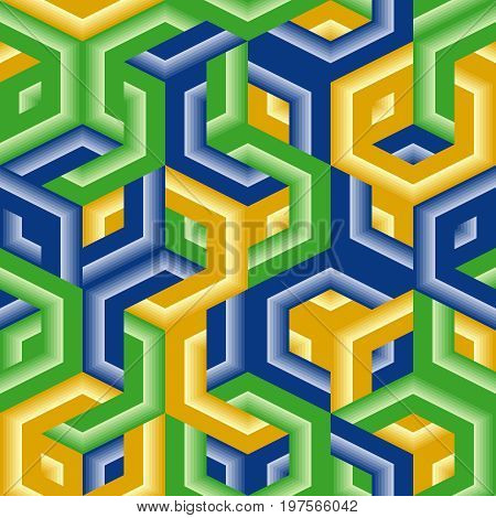 Seamless vivid vector background pattern with hexagons