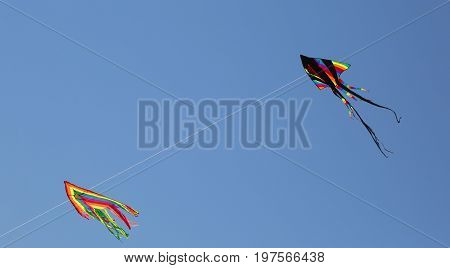 Two Huge Kites Fly In The Sky In The Summer