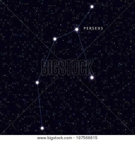 Sky Map with the name of the stars and constellations. Astronomical symbol constellation Perseus
