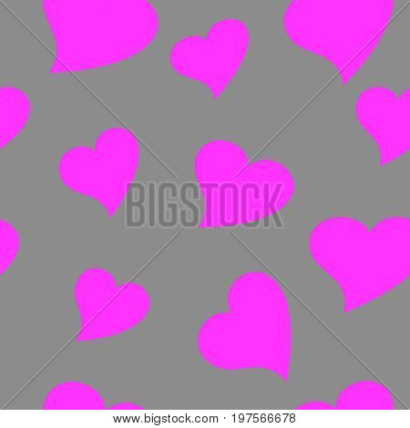 Seamless wallpaper valentine with pink hearts on grey