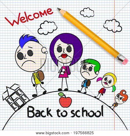 Welcome back to school Cute school kids.