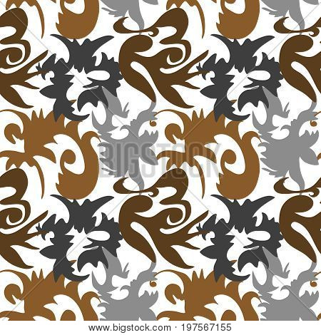 Seamless square brown ornament vector background pattern