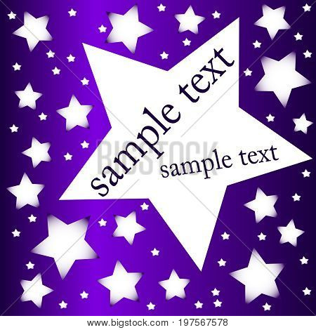 Starry violet night banner with sample text
