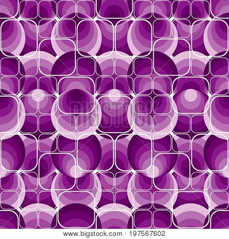 Seamless square violet background pattern with circles