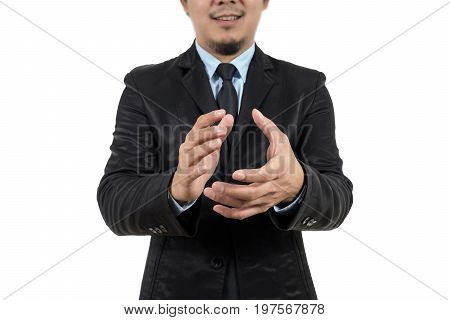 Closeup Businessman clapping and smiling isolated on white background business success concept