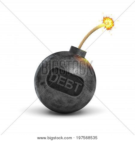 3d rendering of a black iron bomb with a lit fuse and a writing DEBT on its surface on white background. Profit and loss. Credit burden. Budget planning.