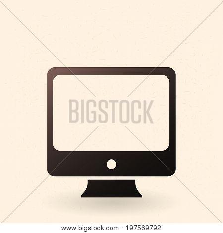 Vector Black Silhouette Icon - Monoblock Personal Computer