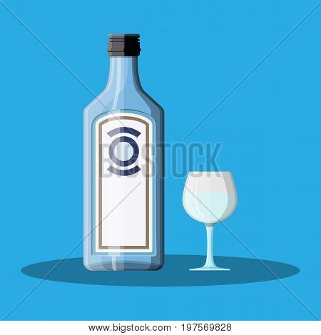 Bottle of gin with shot glass. Gin alcohol drink. Vector illustration in flat style