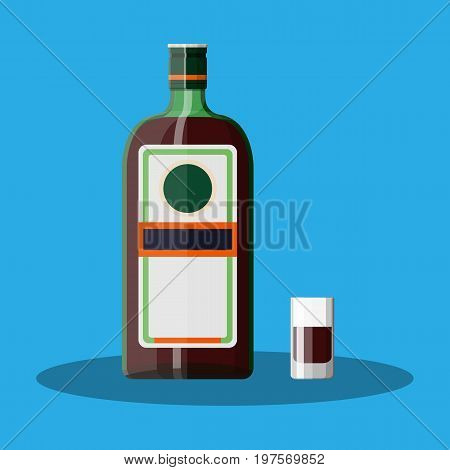 Bottle of grass liquor with shot glass. Grass liquor alcohol drink. Vector illustration in flat style