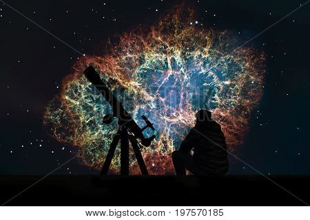 Man With Telescope Looking At The Stars. Crab Nebula In Constellation Taurus. Supernova Core Pulsar