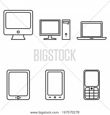 Vector Set Of Device Icons. Personal Computer, Monitor, Laptop, Tablet Pc, Smartphone And Cellphone