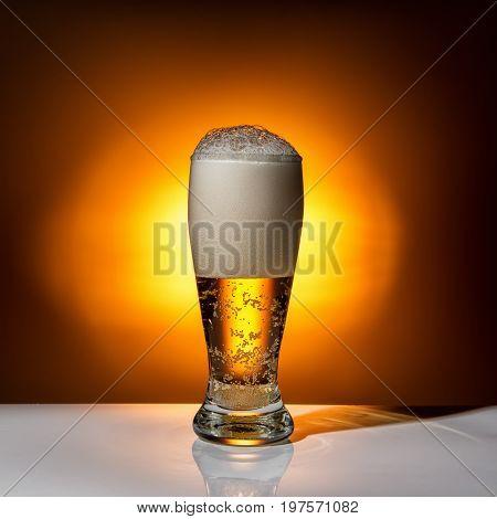 Dark Glass Beer On Light Background, Close Up
