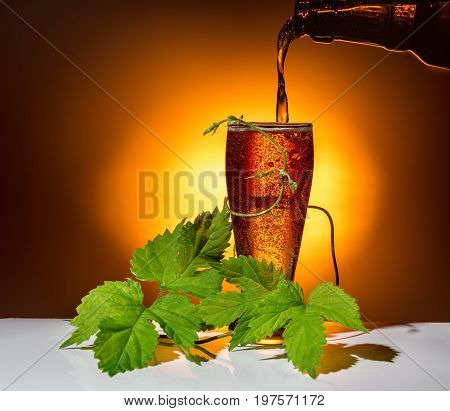 Dark Glass Beer Pour With Twig Of Hop On Light Background, Oktoberfest Concept