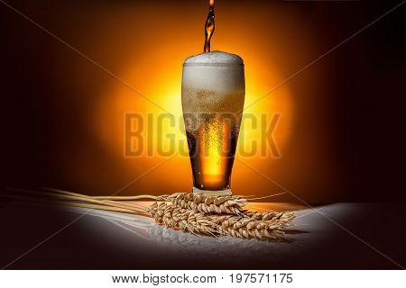 Dark Glass Beer Pouring With Ears Of Wheat On Light Background, Oktoberfest Concept