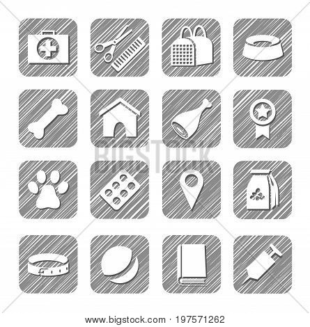 Pet products, icons, vector, hatched.  Drawings of goods and services for Pets. Hatch grey pencil simulation.