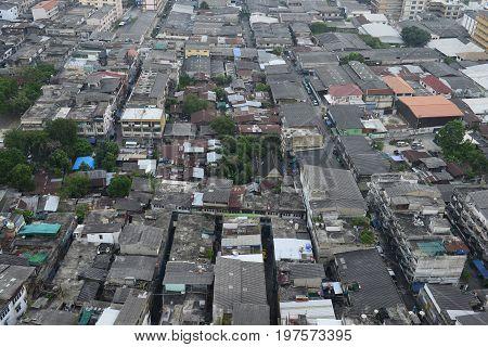 Aerial top-down view of slum community Thailand.