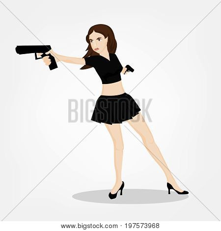 Secret service female agent in black skirt shooting with revolver. Sexy woman on duty. Beautiful vector illustration in cartoonish comics style isolated on white background.