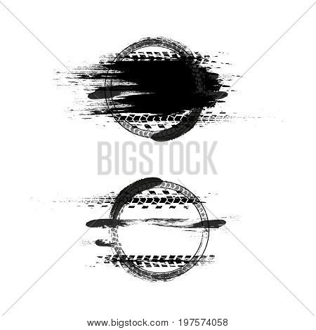 Grunge off-road post and quality stamp. Automotive collection useful for banner, sign, logo, icon, label and badge design . Tire tracks vector illustration.
