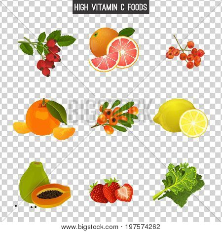 High vitamin C foods. Healthy fruits, berries and vegetables. Vector illustration in bright colours on a transparent background
