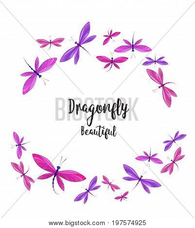 Vector illustration of dragonfly on a white background. Brightly colored dragonflies in flight.