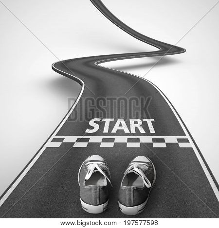Shoes behind the starting line in a winding road on white background that rise up to reach the targets. 3D Rendering