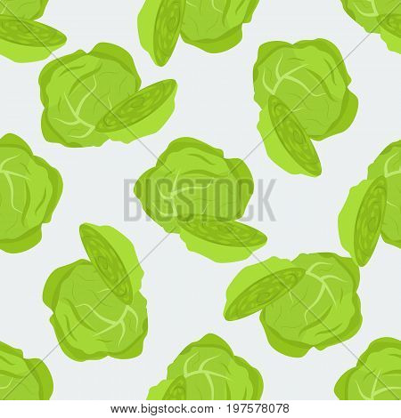 Brussel sprout Cabbage vector seamless pattern. Detailed vegetarian organic food concept design for your package.