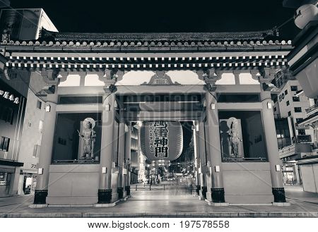 TOKYO, JAPAN - MAY 15: Temple portal in temple on May 15, 2013 in Tokyo. Sensoji Temple, founded in 645 CE, making it the oldest temple in Tokyo.
