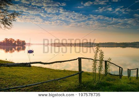 Sunrise over the Lake Selment Wielki. Masuria Poland.