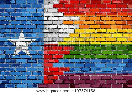 Brick Wall Texas and Gay flags with effect - 3D Illustration, Rainbow flag on brick textured background,  Abstract grunge Texas Flag and LGBT flag