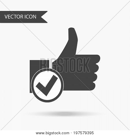 Icon with the image of a man's hand with a thumb up and a circle with a tick on a white background. The flat icon for your web design logo UI. Vector illustration.