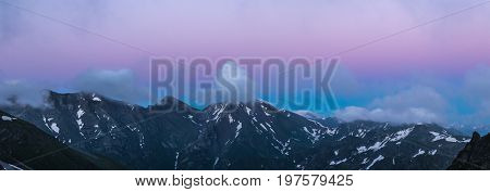 Ridge Abushura Akhuba at dusk. Caucasus mountains. Karachay-Cherkessia. Russia.